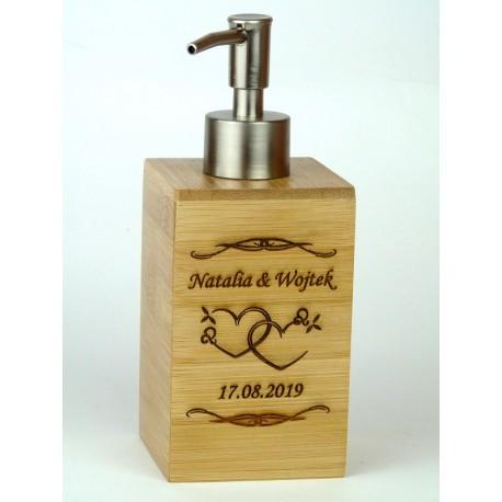 Dozownik do mydła bambusowy + GRAWER