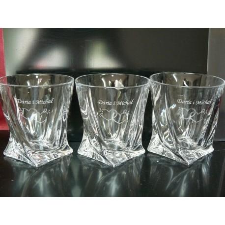 6 x Szklanki Kryształowe Bohemia Quadro do Whisky GRAWER