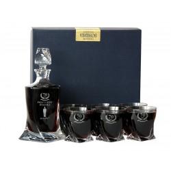 Zestaw do Whisky Bohemia Quadro Karafka szklanki x6 + GRAWER