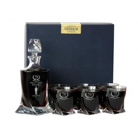 Zestaw Kryształowy: Karafka z grawerem + 6 szklanek do whisky